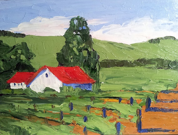 Free Shipping Oil Painting California WINERY BARNS & VINEYARD Lynne French Impressionist Landscape 11x14
