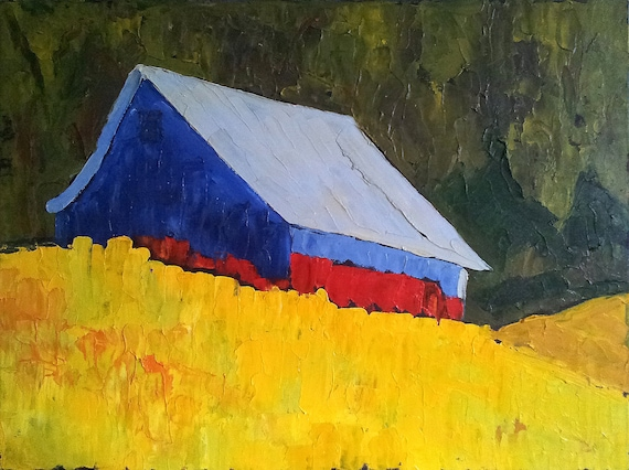 SUMMER BARN Impressionist Plein Air Landscape Lynne French o/c Art 18 x 24