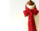 Red Skinny Scarflette Sparkling  Red Necktie Neckwarmer Benefits Hurricane Relief
