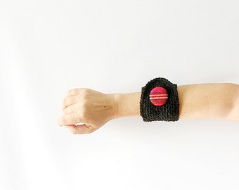 Black Wrist Cuff with Tartan Button
