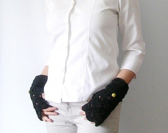 Black Gloves with Neon Detail Arm Warmers Fingerless Gloves Mittens