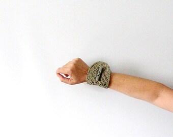 Grey Bracelet Crochet  Cuff Wristlet