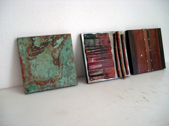 3 Piece Mixed Media- Copper, Steel and Willow Wall Sculpture