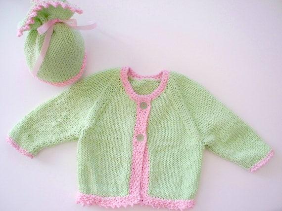 Soft Green w/soft pink Picot trim Cardigan and hat