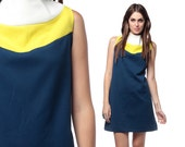 60s Dress Color Block Mod Mini Funnel Neck Navy Blue Yellow White 1960s Shift Vintage Sleeveless Go Go Space Age Sixties Extra Large XL