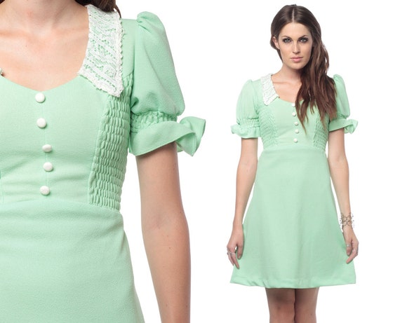 60s Puff Sleeve Dress Babydoll Lace Collar Smocked 1960s Mini Lolita Mint Green Dolly Mod Vintage High Waist Minidress Small Medium