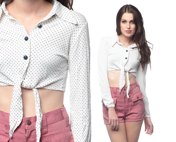 70s crop top blouse polka dot cropped vintage 1970s button for Cropped white collared shirt