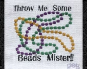 Tea Towel Embroidered with Mardi Gras Beads