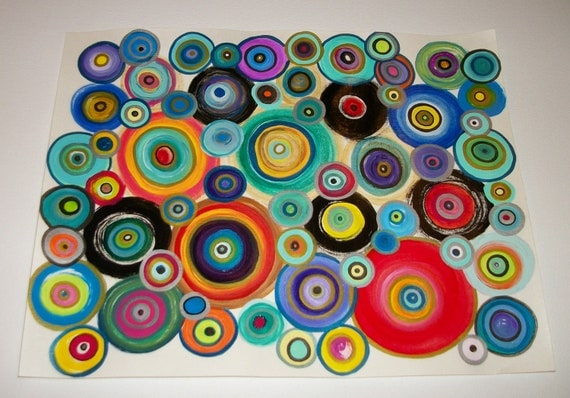 Abstract Circles Original Acrylic Painting and Ink on Canvas Paper 11x14inches Whimsical Fun Color Original