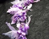 Purple flower hair clip, flower brooch, flower, Organza petals, flower headpiece
