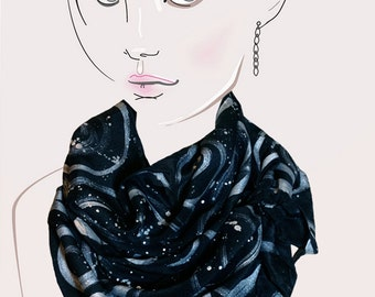 Black and Silver hand painted scarf - Midnight Symphony