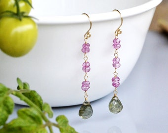 Moss Aquamarine Gold Filled Earrings - mystic pink topaz - Wire Wrapped - Hand Forged - Faceted Pear Briolette