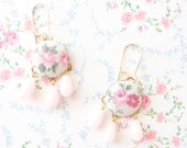 Fabric Covered Button and Vintage Beaded Earrings - Whimsy - Whimsical - Romance - Bridal