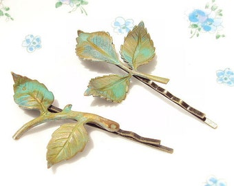 Verdigris Leaf Branch Bobby Pin Set - Woodland Collection - Whimsical - Nature - Bridal - Patina