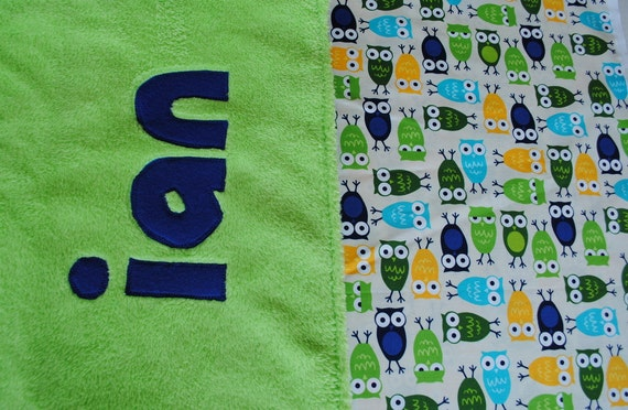 Handmade Personalized Baby Stroller Blanket in Owls with Lime Green