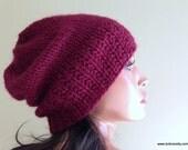 Maroon Red Baby Alpaca Slouchy Knit Hat Beanie, Warm Winter Handknit Cap // BLEECKER // Shown in Color 24