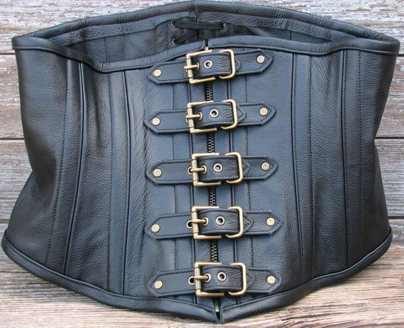 "Reserved for WhisprSoftly  Steampunk Black Leather Corset with Antiqued Brass Zipper and Buckle Closure 28"" Waist"