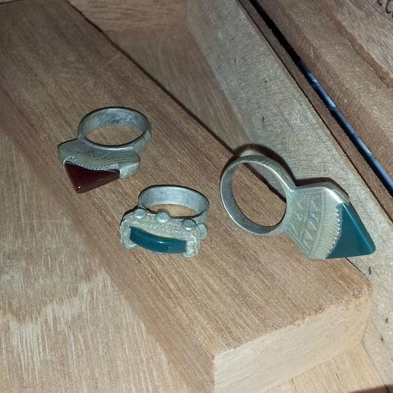 Reserved for Furious Fancies Incised Tuareg Tribal Tisek Rings with Tanfouk Stones, Lot of 3