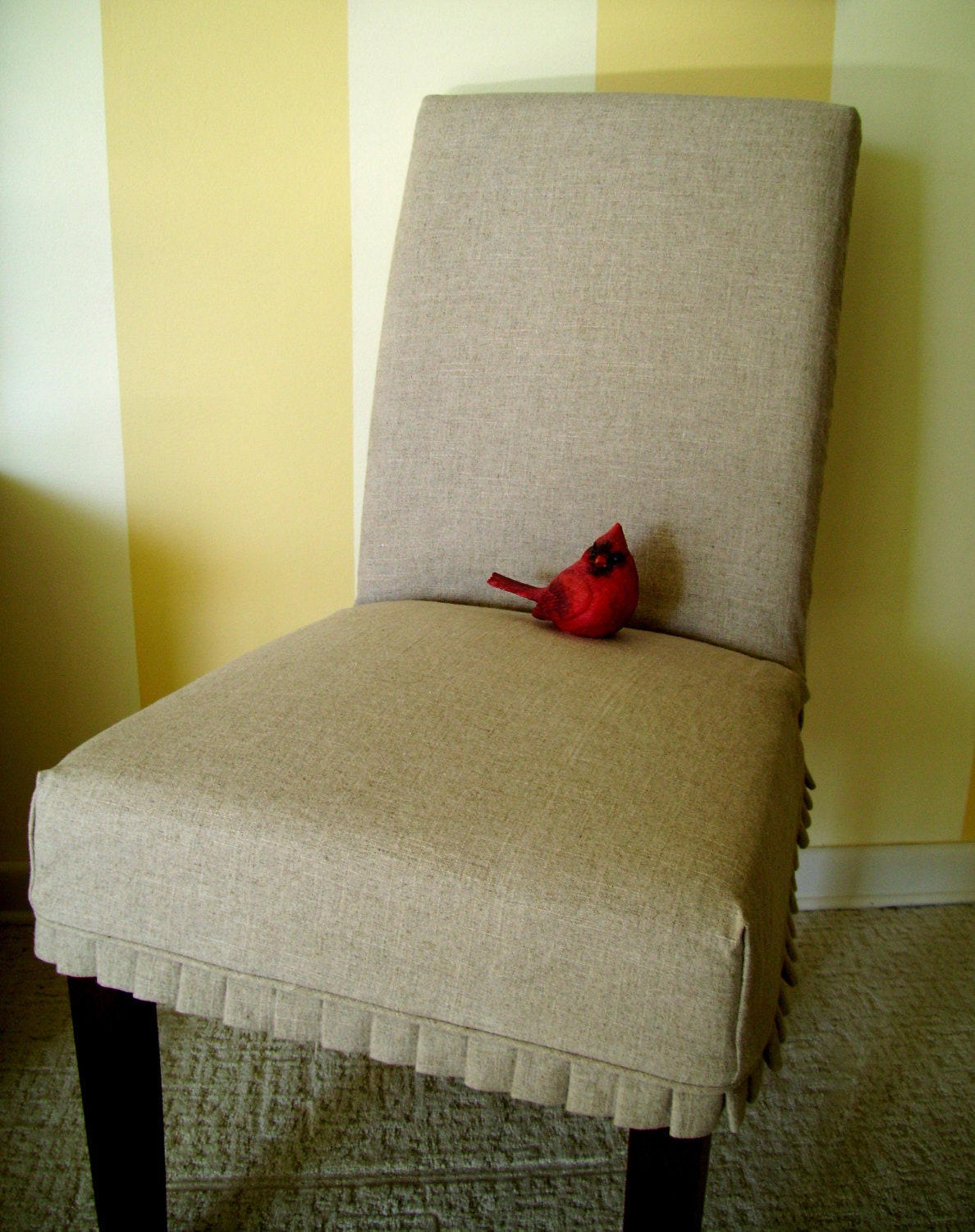 Slipcover Parson Chair Slipover with Knife Pleats Linen Dining