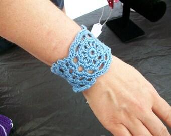 Lacy Cuff Bracelet Crochet Jewelry Crocheted Handmade Ladies Girls Teens You Choose Color