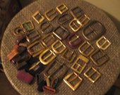 Used Belt Buckles - Goldtone/Brass - Lot of 24 with 16 loops
