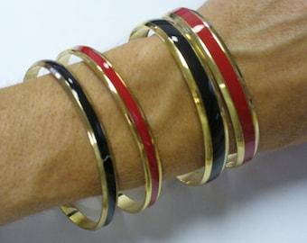 Vintage Set of 4 Red Black and Gold Bangles Bracelets DEADSTOCK