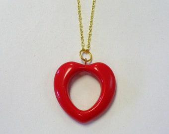 Vintage Red Heart Necklace DEADSTOCK