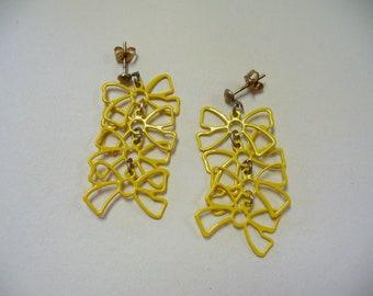 Vintage Yellow Ribbon Earrings DEADSTOCK