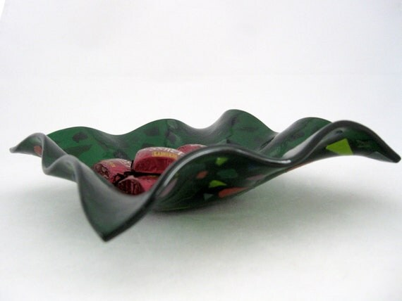 small green candy dish, handmade fused glass, unique gift