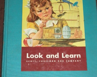 1956, Look and Learn, Children's Learning Book, Beautiful Colored Illustrations, HC