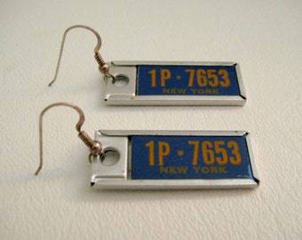 Handmade Vintage License Plate Tag Keychain Earrings New York Blue and Yellow NY