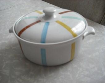 Vintage Dish Casserole Danish Modern Stripe Paravue Holland 1950s