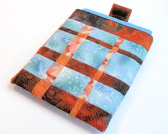 Patchwork iPad Sleeve in Brown and Blue Modern Patchwork, Tablet Sleeve, Gadget Case
