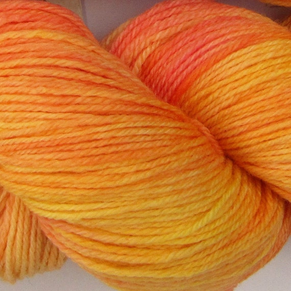 Jackalope hand dyed sock yarn fingering weight, 3ply superwash with nylon, 100g - Peachy Keen 2