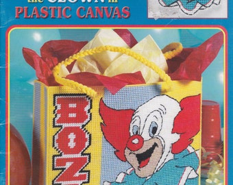 LEISURE ARTS Bozo The Clown In Plastic Canvas Pattern Leaflet Book 3573
