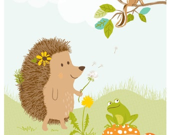 Hedgehog - art print - nursery art for children