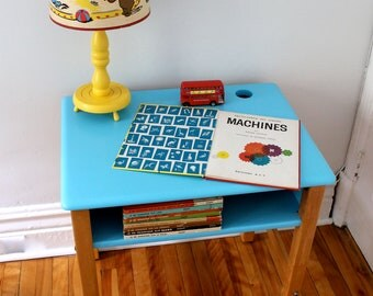 Vintage upcycled child's wood school desk painted