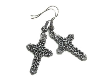 SALE 50% OFF Gothic Earrings - Medieval Gothic Crosses with Gunmetal Filigree, Smokey Grey Swarovski Crystal Accents - by Ghostlove