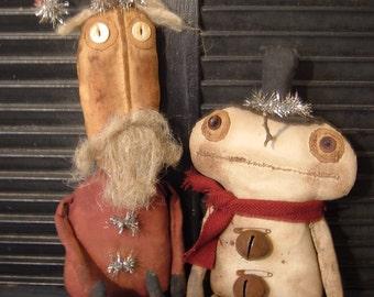 eXtreMe PriMitiVe Olde Mr.Big N Twigs Santa SnowmaN Doll set