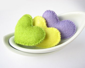 SALE Lime, yellow and purple felt Valentine's hearts (high quality)