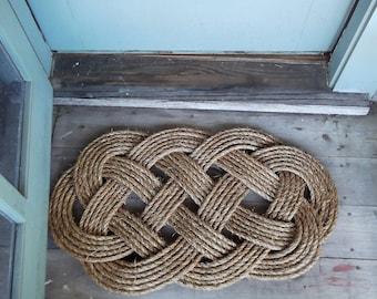 Rope Rug - Rope Welcome Mat - 30' by 19' - Front Door Mat - Nautical Decor - Wedding Gift Idea - Brown Mat - Ocean Mat - Tough Mat
