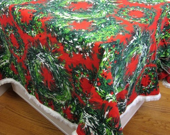 "Vintage 1960s Hand Sewn Round Christmas Tablecloth with Fringe 64""W / Large Tear, Repurpose Fabric and Trim"