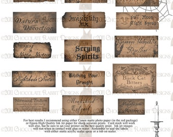 Halloween witch potion bottle labels digital download 300 dpi jpg - 16 small labels