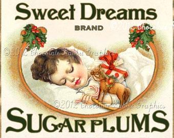 Christmas Label Digital Download Vintage Tag Sugar Plum Collage Sheet Clip Art Scrapbook Image