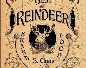 Vintage Christmas Reindeer Food Label Image Digital Download Collage Sheet Printable - Tag Scrapbook Image