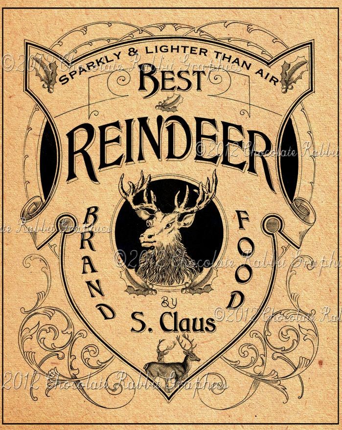 Vintage Christmas Reindeer Food Label Image Digital Download