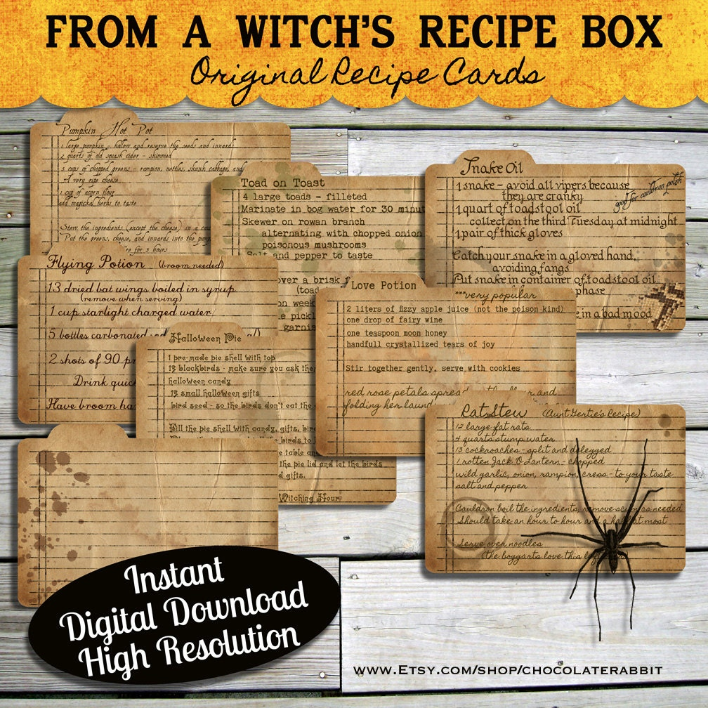 How to scrapbook a recipe book - Halloween Witch Recipe Cards Instant Digital Download Vintage Style Collage Sheet Printable Scrapbook Image Clip Art Instant Download