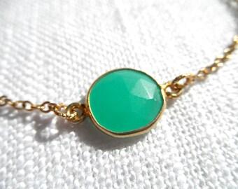 Green Chalcedony bracelet - green bracelet - gold bracelet - K A T E 156