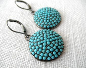 Turquoise earrings - oxidized silver earrings - swarovski crystal earrings - E A R R I N G S 132
