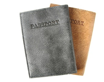 LEATHER PASSPORT COVER, Leather Passport holder, Leather Passport Wallet, Leather Passport Case, Gift Ideas - in Charcoal Black (No.64)